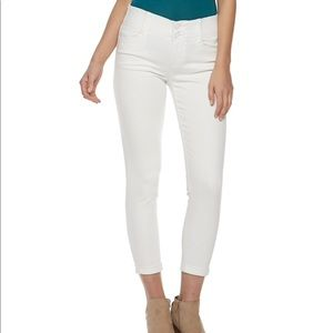 Tummy Control White Cropped Jeans